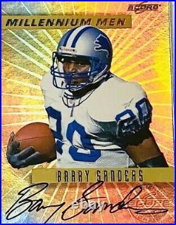 1999 Score Barry Sanders Millennium Men Autograph Gold Refractor Auto SP /25