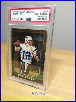2000 Bowman Chrome Tom Brady Rookie Card Patriots #236 PSA 10 AUTOGRAPHED