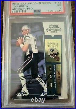 2000 Playoff Contenders #144 Tom Brady Rookie auto autograph PSA 7 NM