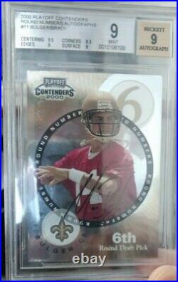 2000 Playoff Contenders Round Autographs BGS 9 MINT Tom Brady Rookie RC
