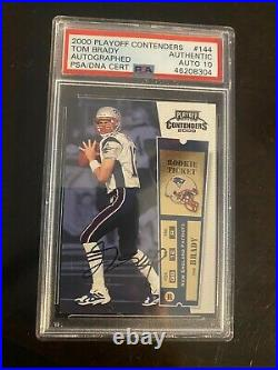 2000 Playoff Contenders Tom Brady Auto Rookie #144 RC PSA Auth 10 Autograph