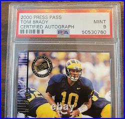 2000 Press Pass Tom Brady Rc Auto Psa 9 Sharp Goat