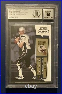 2000 Tom Brady Playoff Contenders Rookie Ticket BGS 10 Auto Authentic Altered