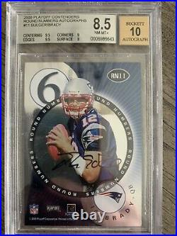 2000 Tom Brady Playoff Contenders Round Numbers BGS 8.5 Auto 10 #RN11 (9.5 & 9)