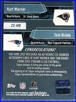 2002 Topps Stadium Club Co-Signers Tom Brady & Kurt Warner Dual Autograph, Auto