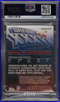 2002 Topps Super Bowl Tom Brady AUTO PATCH /150 #SBMVP PSA 9 MINT