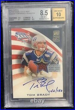 2002 Topps Super Bowl XXXVI Mvp Tom Brady Autograph Auto Fb 142/150 Bgs 8.5