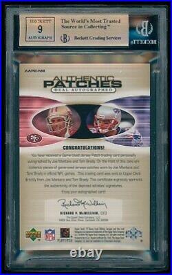 2004 Sp Tom Brady / Joe Montana Game Used Patch Dual Auto #2/5 Bgs 9.5 / 9