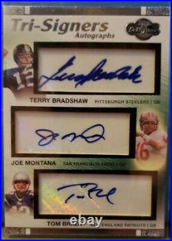 2007 Topps Tri-Signers #17/20 Tom Brady Joe Montana Terry Bradshaw Triple Auto