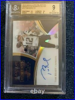 2018 Immaculate Tom Brady On-Card Auto 1/5 Immaculate Moments BGS 9 Auto 10