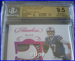 2018 JOSH ALLEN FLAWLESS VERTICAL RUBY #01/10 AUTO RPA RC SWOOSH BGS 9.5+ With10