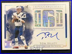 2019 Impeccable TOM BRADY on card auto #1/6 New England Patriots