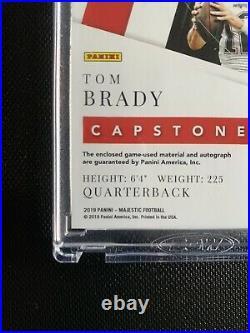2019 Majestic Capstones TOM BRADY Game Used Quad Patch On Card Auto #d 1/3