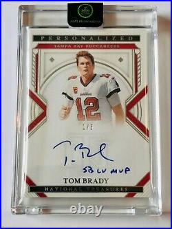 2020 Panini National Treasures Tom Brady 1/5 Auto with SB LV MVP Inscription