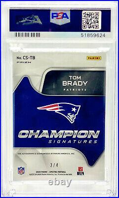 2020 Panini Spectra Tom Brady Champions Neon Green Prizm Auto /4 Psa 10 Gem Mint