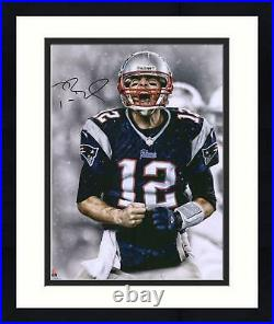 Framed Tom Brady New England Patriots Autographed 16 x 20 Screaming Photograph