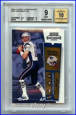 TOM BRADY 2000 PLAYOFF CONTENDERS BGS 9 10 AUTO ROOKIE RC SUBS 9.5 9 9 9 NO 8.5s