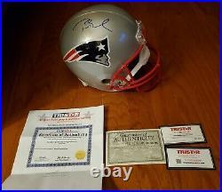 TOM BRADY Signed Full Size Replica Patriots Football Helmet AUTO with TRISTAR COA