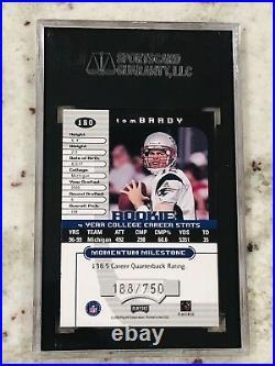 Tom Brady 2000 Playoff Momentum #180 Super Short Print Limited SSP/750 SGC 9