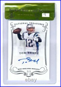 Tom Brady 2014 Panini National Treasures Auto Autograph #2/3 Bgs 9.5 Gem Mint