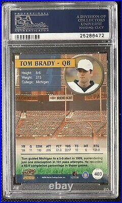 Tom Brady Autographed 2000 Pacific Rookie Card PSA 8.5 AUTO 10 PSA/DNA