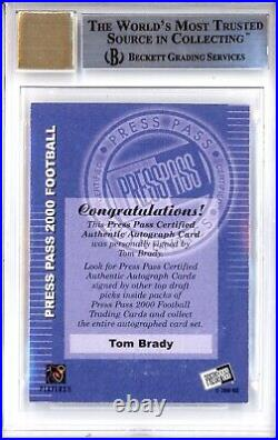 Tom Brady Bgs 9 2000 Press Pass Football #3 Rookie Auto Autograph Rc Mint 9763