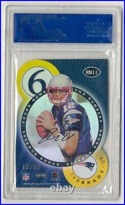 Tom Brady & Bulger 2000 Contenders Round Numbers Gold Auto Rc #13/60 Psa 8
