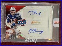 Tom Brady Eli Manning 2016 Panini Super Bowl XLII Prime Signatures Auto 1/1