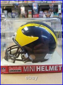 Tom Brady, Mini University of MichiganHelmet, COA Signed JSA