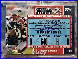 Topps Tom Brady Deion Branch Super Bowl Ticket Auto #8/10 & Patriots Team Autos